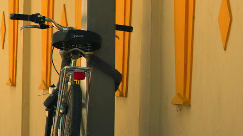 Royalty Free Stock Video Footage of a chained bicycle in Tel Aviv shot in Israel Footage