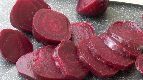 Beetroot (beet) chopped for salad. Healthy ingredient for cooking. Cooked beet GIF