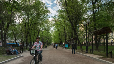 Boulevard With Monument to Russian Writer Gogol Live Action