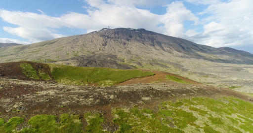Aerial drone footage Iceland landscape - West Iceland Snaefellsjokull mountain ビデオ