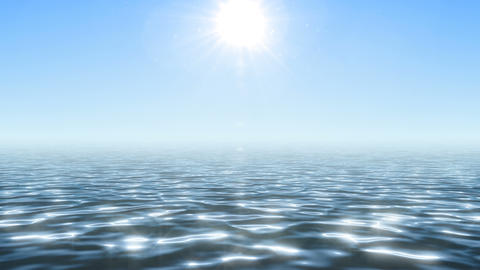 Glaring ocean under summer bright sun Animation