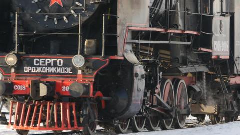 Soviet steam locomotive approaching Live Action