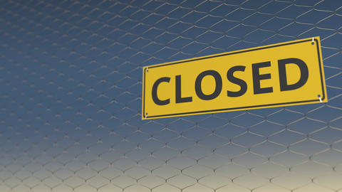 CLOSED sign an a mesh wire fence against blue sky. 3D animation Live Action