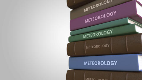 Book cover with METEOROLOGY title, loopable 3D animation Live Action