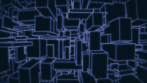 Vertically moving camera on a vintage 3d blue vector background city loop Animation