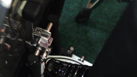 Musician foot rhythmically beating a big drum 12 Footage