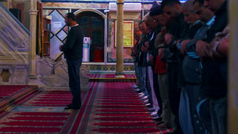 Stock Video Footage of praying muslims at a mosque filmed in Israel at 4k with R Footage