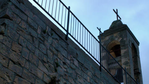 Stock Video Footage of clouds moving past a church's bell tower shot in Israel a Live Action