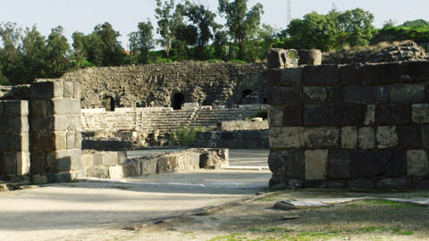 Royalty Free Stock Video Footage of ruined walls at Beit She'an shot in Israel a Live Action