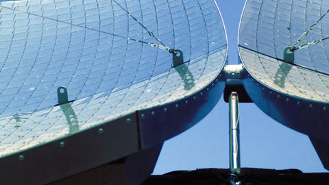 Royalty Free Stock Video Footage of solar panel dishes shot in Israel at 4k with Live Action