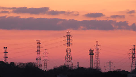 Tokyo,Japan-February 18, 2019: Transmission towers in Tokyo at dawn Live Action