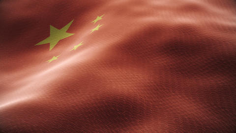 Closeup of a waving chinese flag looping Animation