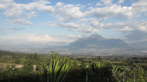 Panoramic view of the Imbabura volcano from the sector of the Cuicocha lagoon. Footage
