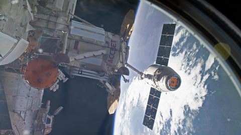 International Space Station - Circa January 2019: SpaceX Dragon spacecraft is Live Action