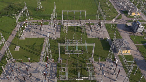 Aerial - High angle view of electrical substation Live Action