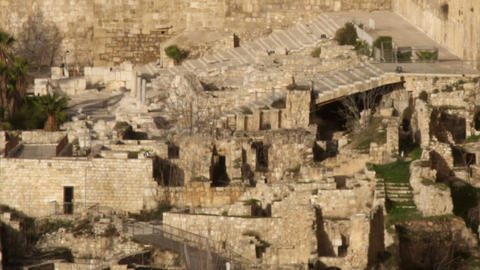 Royalty Free Stock Video Footage of south steps at Jerusalem walls filmed in Isr Live Action