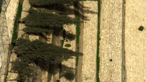 Royalty Free Stock Video Footage of terraced Kidron Valley walls filmed in Israe Footage
