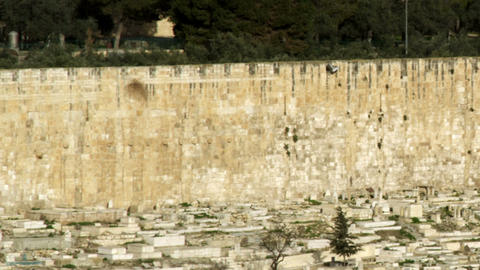 Stock Video Footage of the Muslim Cemetery and Golden Gate of Jerusalem filmed i Footage
