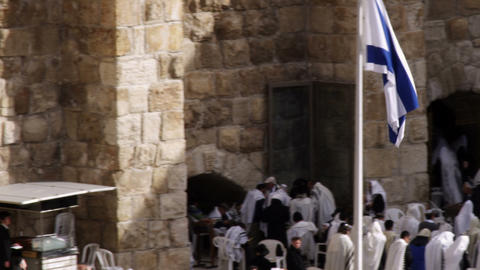 Stock Video Footage panorama of Jews at the Western Wall filmed in Israel at 4k  Footage