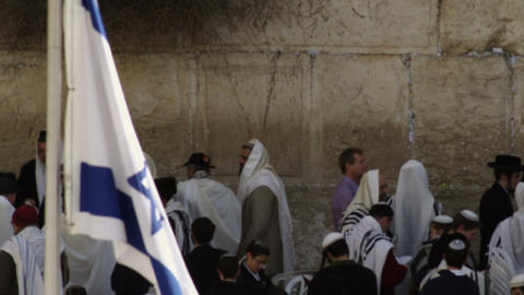 Royalty Free Stock Video Footage of male Jews at the Western Wall filmed in Isra Live Action
