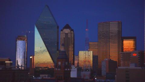 Dallas skyline as night falls Footage