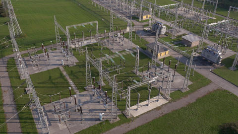 Aerial - Electric power substation Footage