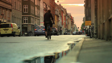 Tracking shot of a busy street in Copenhagen, Denmark Footage