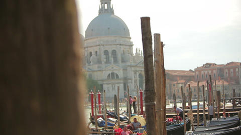 Shot of Santa Maria della Salute and gondolas with rack focus Footage