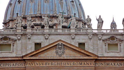 Statues and Latin engravings on basilica facade Footage