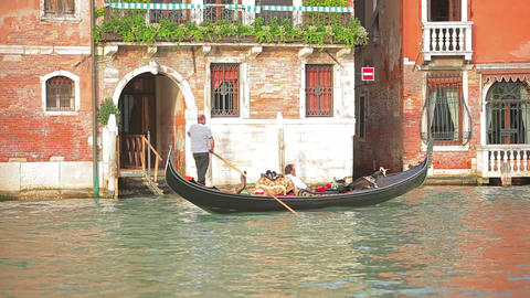 Gondolier with passenger in Venice Footage
