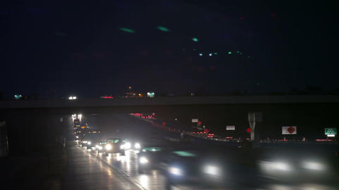 Night Freeway Driving in Nebraska Footage