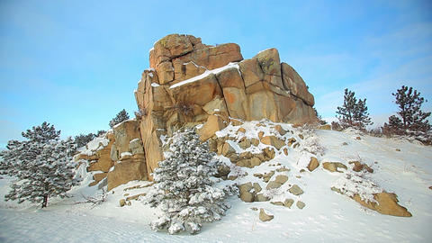 Winter Rock Formation with Pinetrees Footage