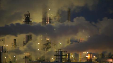Night View Factory Smoke Stacks Footage