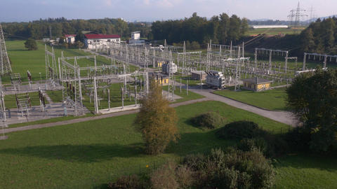 Aerial - Electrical transformer station Footage