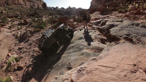 Jeep stuck in crevice Footage