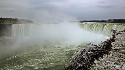Horseshoe falls at Niagara falls in winter Footage