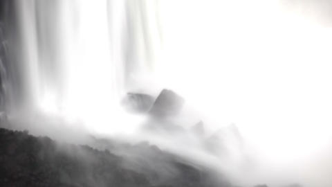 Shaky view of the base of a waterfall at Niagara Falls Footage
