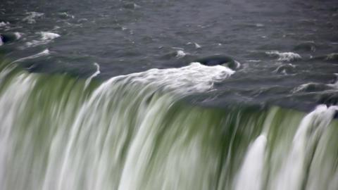 Shaky view of the top of a waterfall at Niagara Falls Footage