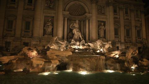 Trevi Fountain illuminated at night Footage