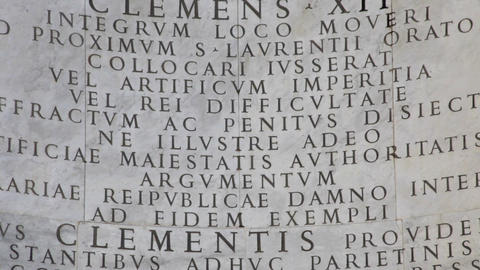 Close up of Latin inscription of Triclinium at St John Lateran Live Action