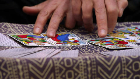 Fortune teller using Tarot cards Footage