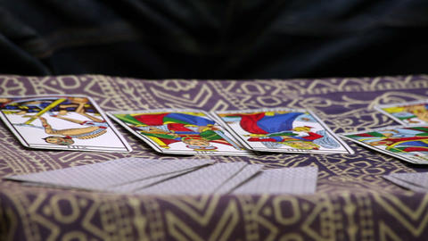 Fortune teller using Tarot cards Stock Video Footage