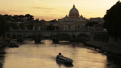 A barge on the Tiber with St Peter's and Ponte Sant'Angelo Footage