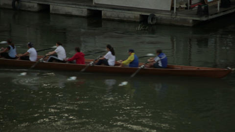 A boat full of rowers on Tiber Footage