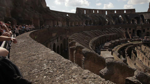 Tourists sightseeing the Colosseum from the upper balcony Footage