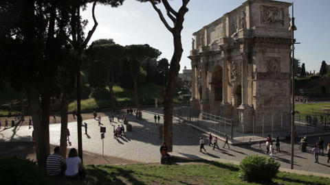 Angled footage of Arch of Constantine Footage