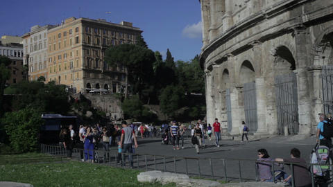 ROME - CIRCA MAY Tourists roam the exterior of the Colosseum circa May 2012 in R Footage