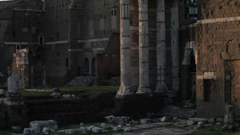 View of the several columns, part of the Roman Forum ruins Footage