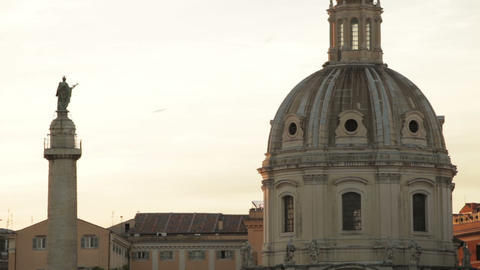 The rooftop of Santissimo Nome di Maria al Foro Traiano with figurine Footage