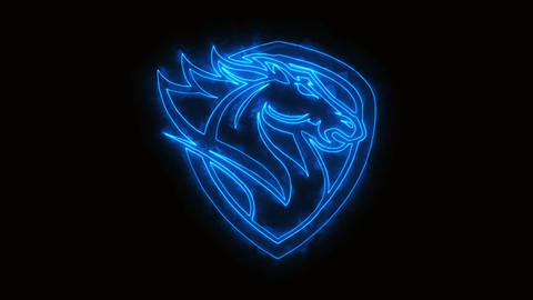 Blue Burning Head Horse Animated Logo Element with Reveal Effect GIF